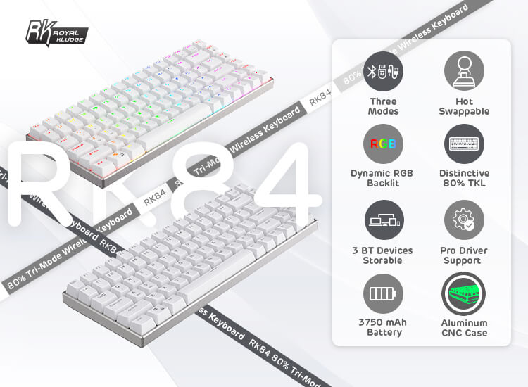 RK ROYAL KLUDGE RK84 Pro 80% RGB Triple Mode BT5.0/2.4G/Wired 75% Hot-Swappable Mechanical Keyboard
