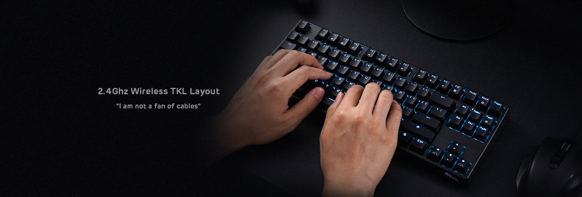 87 Keys No Numpad Tenkeyless Compact 2.4G Wireless Keyboard with Tactile Brown Switches