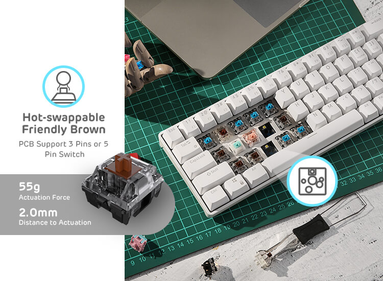 65% gaming wireless keyboard with brown switches