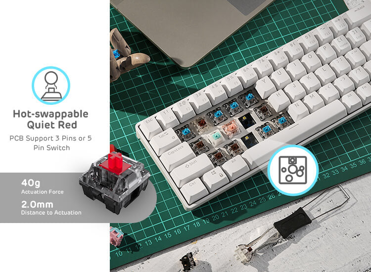 65% gaming wireless keyboard  with red switches