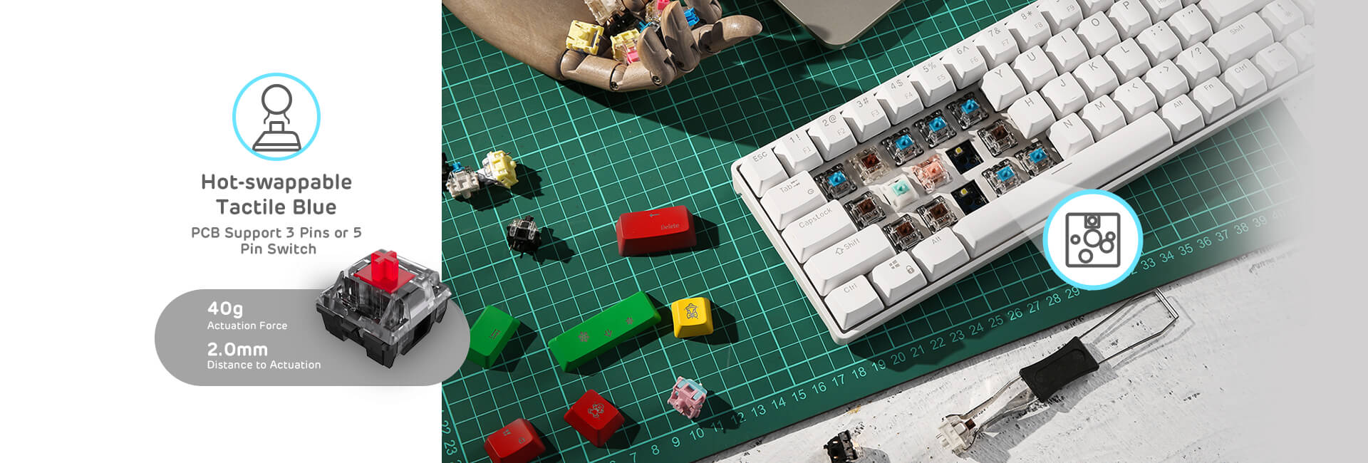 65% sized mechanical white keyboard  with red switches