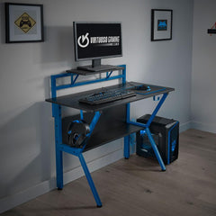 Rogue Black and Blue Gaming Desk