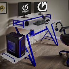 PRO VX01 White and Blue Gaming Desk