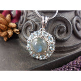 Labradorite, Blue Topaz, & Natural Zircon .925 Sterling Silver Pendant/Necklace