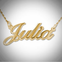 Name Necklace - Smaller Version - Carrie Font - Thicker Metal -  18kt Gold-Plated .925 Sterling Silver
