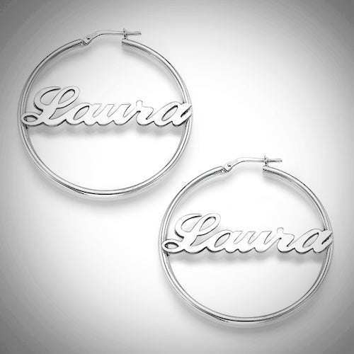 Personalized Name (up to 6 letters) .925 Sterling Silver Hoop Earrings