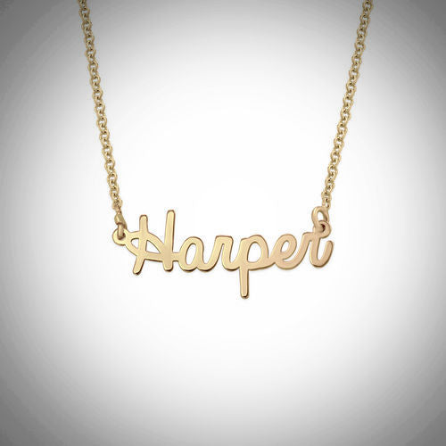 Name Necklace - Smaller Version - Cursive Font - Regular Thickness - 18 Gold-Plated .925 Sterling Silver