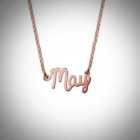 Name Necklace - Smaller Version - Cursive Font - Regular Thickness - 18kt Rose Gold-Plated .925 Sterling Silver