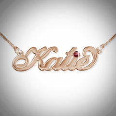 Name Necklace with Swarovski Crystal - Script Font - 8+ Characters