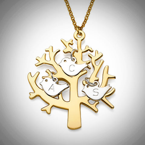Personalized Gold-Plated .925 Sterling Silver Tree with 3 Initial Birds
