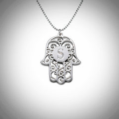 Hamsa Initial .925 Sterling Silver Necklace