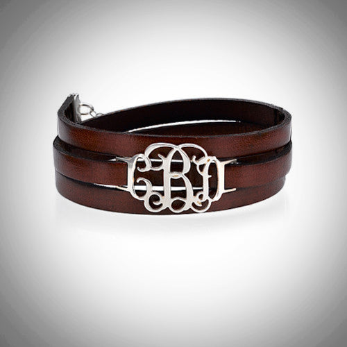 Monogrammed .925 Sterling Silver & Leather Wrap Bracelet