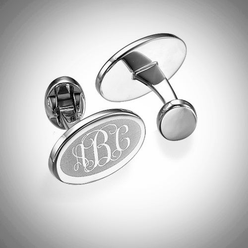 Monogram Rhodium Plated Cuff Links