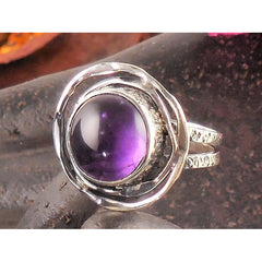 Amethyst Sterling Silver Ring - Size 6.5