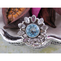 Blue Topaz & Herkimer Diamond Quartz Ring - Size 8.0
