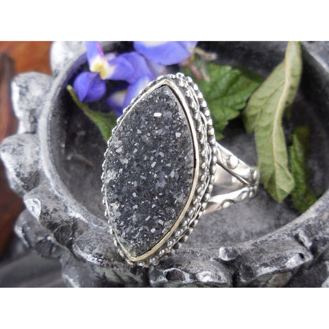Agate Drusy Sterling Silver Ring - Size 7.25