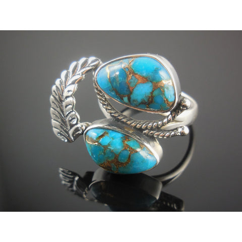 Turquoise Sterling Silver Leaf Ring – Size 7.50