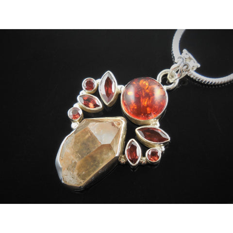Amber (Lab), Quartz (rough), and Garnet Sterling Silver Pendant/Necklace
