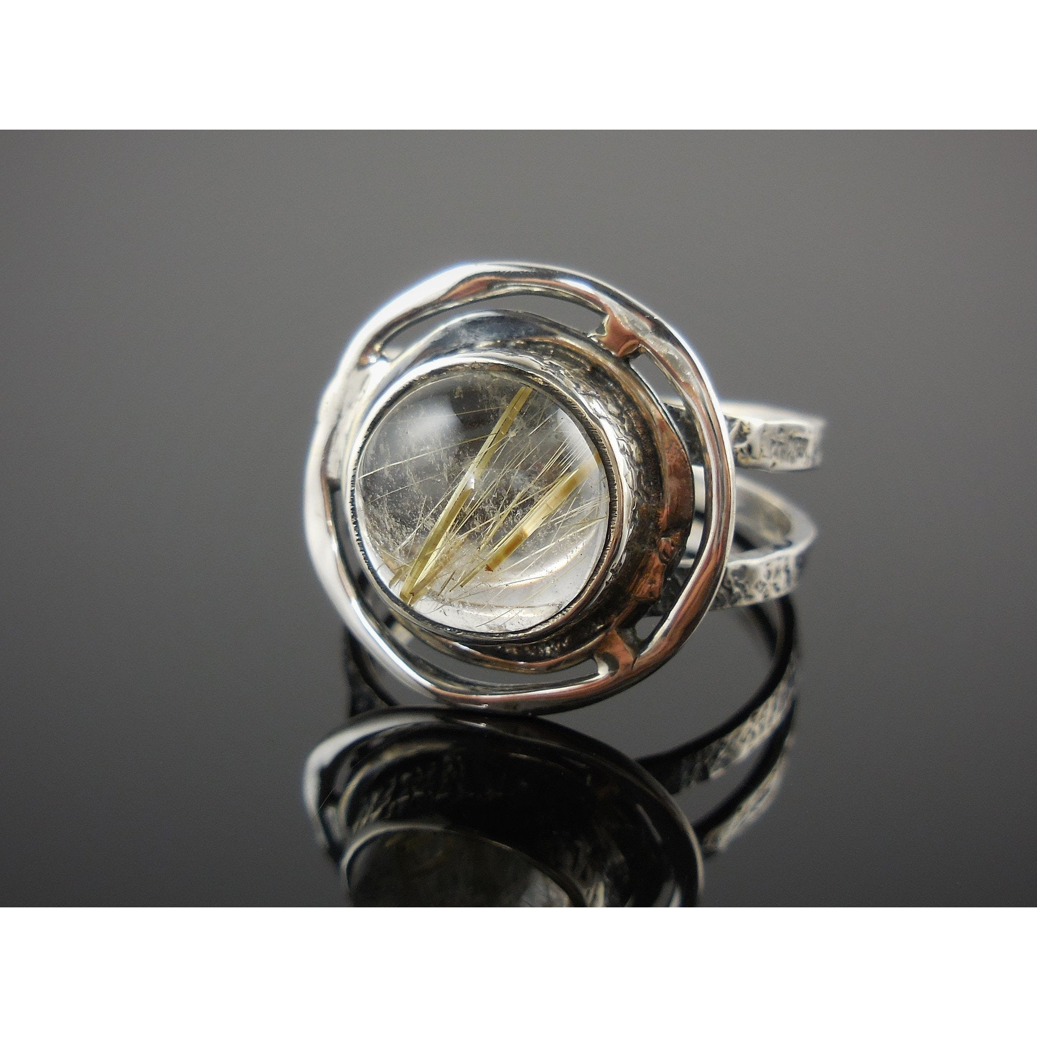 Golden Rutilated Quartz Sterling Silver Ring – Size 8.0