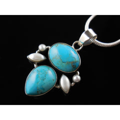 Turquoise & Pearl Sterling Silver Pendant/Necklace