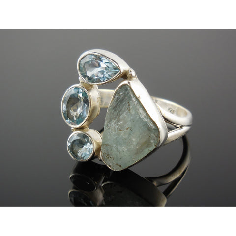 Aquamarine Rough & Blue Topaz Sterling Silver Ring – Size 8.0