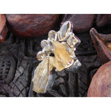 Citrine & Golden Rutilated Quartz Sterling Silver Ring - Size 8