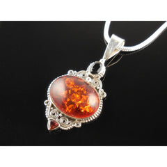 Amber (Lab), Onyx, and Garnet Sterling Silver Pendant/Necklace