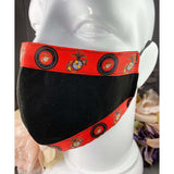 Handsewn Face Mask With Filter Pocket, Bendable Nose Wire, & Adjustable Elastic - United States Marine Corps Themed Ribbon - 5 Sizes