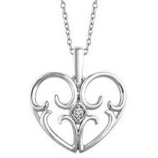 Sterling Silver .03 CT Diamond Heart Necklace