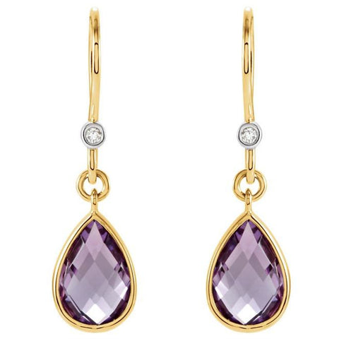 14kt Gold Amethyst & Diamond Earrings
