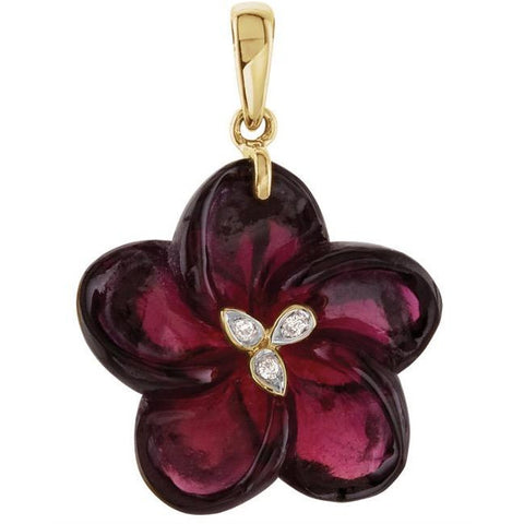 14kt Carved Garnet & Diamond Flower Pendant/Necklace