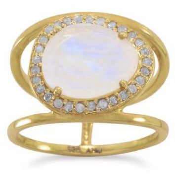 Moonstone and Gray Diamond 14kt Gold-Over-Sterling Ring - Size 10