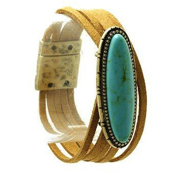 Turquoise Faux Suede Multi-Strand Bracelet with Magnetic Closure