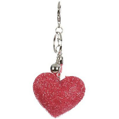 Dusty Rose Puffy Heart Keychain