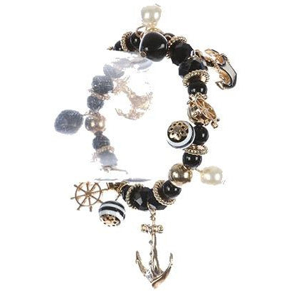 NAUTICAL METAL CHARM NATURAL STONE BEAD STRETCH  BRACELET - BLACK