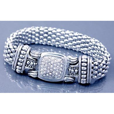 Crystal Rhinestone Mesh Bracelet with Magnetic Clasp - Silver Tone