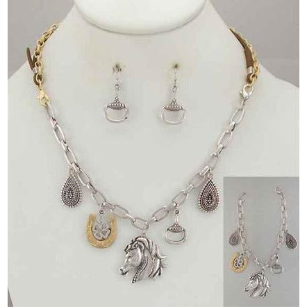Equestrian-Themed Charm Necklace with Matching Horseshoe Earrings