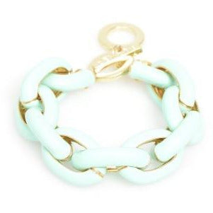 Sleek Painted Link Two-Tone (Gold/Mint) Toggle Bracelet