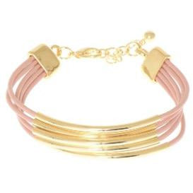 5-Strand Leather & Gold-Tone Metal Bracelet - Dusty Rose