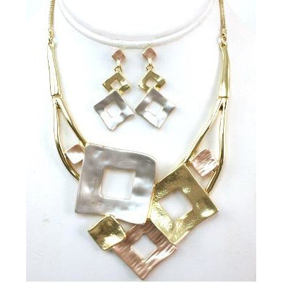 Tri-Color Modern Necklace & Earrings Set