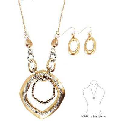 Two-Toned Necklace/Earrings Set