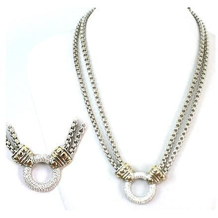 Two-Toned Double-Row Box-Chain Necklace with Circular Rhinestone Pendant