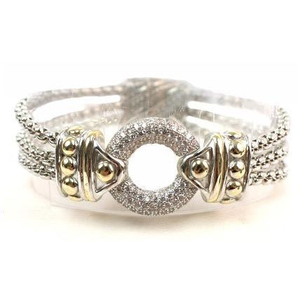 Two-Toned 3-Row Box-Chain Bracelet with Circular Rhinestone Center