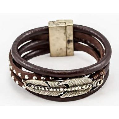 3-Row Leather Leaf Bracelet w/Magnetic Clasp - Brown