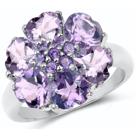 Amethyst Quartz Heart-Shaped Petals .925 Ring
