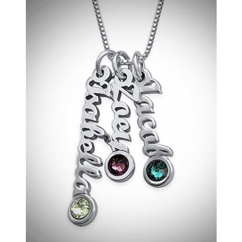 Tiny Vertical Name Necklace - 4 Names