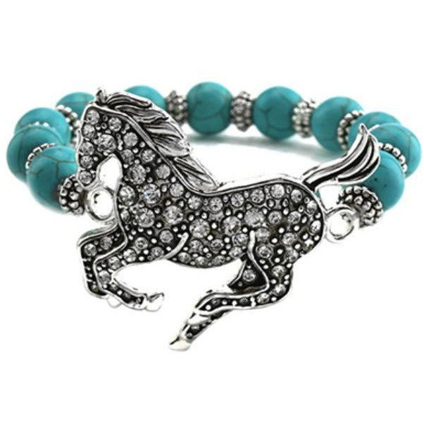 Turquoise-Colored Beads w/Rhinestone Silver-Plated Horse Stretch Bracelet