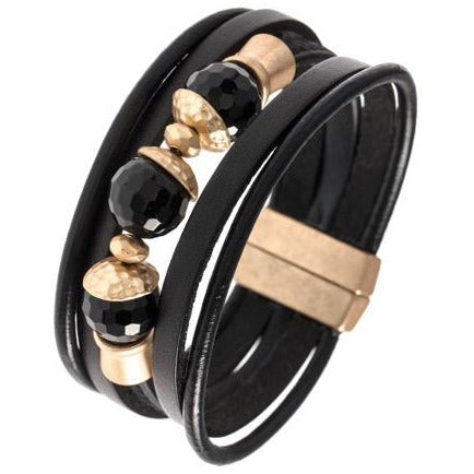 Beaded Genuine Leather Bracelet w/Magnetic Clasp
