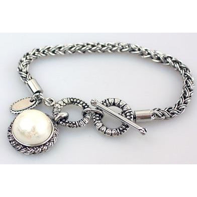 Faux Pearl Toggle Bracelet