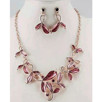 Rose Gold Plated Isabella Leaf Necklace & Earring Set